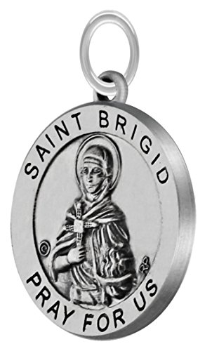 US Jewels And Gems New Antiqued 3/4in 0.925 Sterling Silver Saint St Brigid Round Medal Pendant