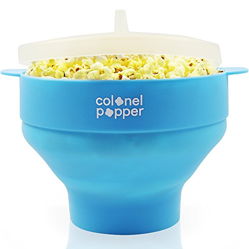 Colonel Popper Microwave Popcorn Maker Air Popper Silicone Bowl   Use Any Kernels  Salt  Oil  Blue