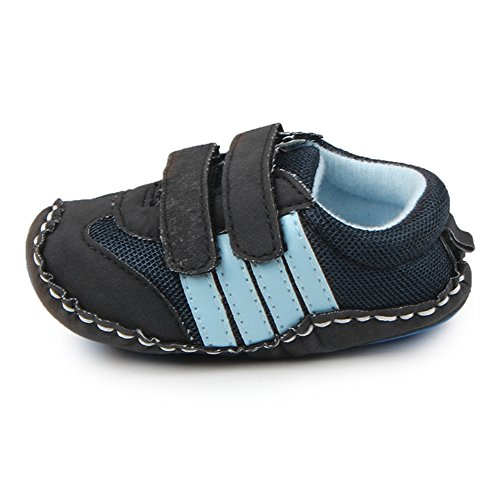 Lidiano Baby Toddler Sewing Nubuck Upper Non Slip Rubber Sole Sneakers Slippers Loafers Crib Shoes (6-12 Months, Deep Blue) - Image 3