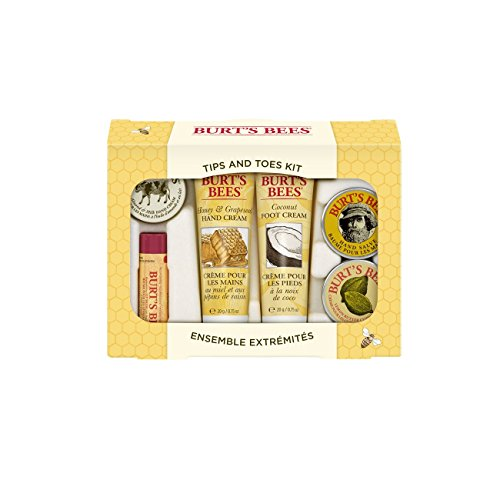 Soothe Gift Set (Burt's Bees Tips and Toes Kit Gift Set, 6 Travel Size Products in Gift Box - 2 Hand Creams, Foot Cream, Cuticle Cream, Hand Salve and Lip Balm)
