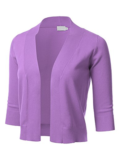 Collarless 3/4 Sleeve (FLORIA Womens Classic 3/4 Sleeve Open Front Cropped Cardigan PURPLE L)