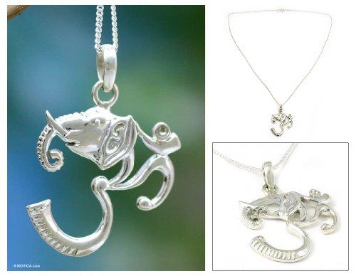 Sterling silver pendant necklace, 'Ganesha Meditation'