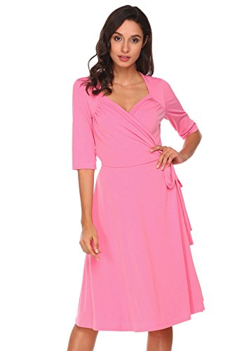Pink Crossover - Zeagoo Womens V-Neck Short Sleeve Ruched Solid Knee Length A-Line Crossover Wrap Swing Dress,Pink,X-Large