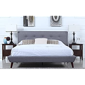 Mid Century Grey Linen Low Profile Platform Bed Frame With Tufted Headboard  Design (Euro