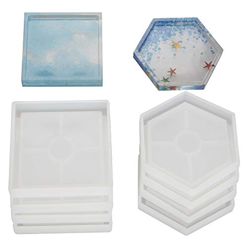 8 Pcs DIY Coaster Silicone Mold, Include 4 Pcs Square, 4 Pcs Hexagon, Molds for Casting with Resin, Concrete, Cement