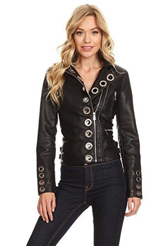 Studded Eyelet (Pretty Attitude Womens Black Faux PU Leather Studded Eyelet Moto Biker Jacket – Size Large)