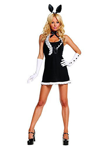 Sexy Women's Exotic Black Tie Bunny Adult Roleplay Costume, Small, Black/White