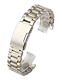 Top Plaza Silver & Gold 22mm Solid Stainless Steel Curved End Link Bracelet Wrist Watch Band Strap Replacement Single Fold Over Clasp 3 Rows Metal Strap