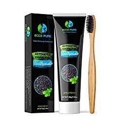 ECCO PURE Activated Charcoal Teeth Whitening Toothpaste + BONUS Bamboo Toothbrush | Eliminates Bad Breath | Easier Than Charcoal Powder, Strips, Kits, Gel