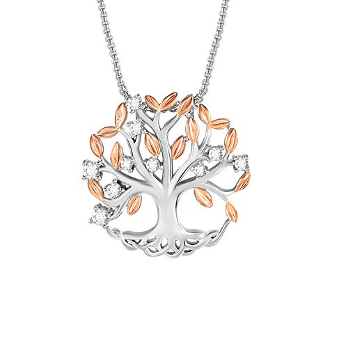 THEHORAE Tree of Life Pendant Necklace Family Life Tree Necklace Jewelry White Gold Necklace with Rose Gold Brilliant Leaves for Girls Birthday Gift for Her
