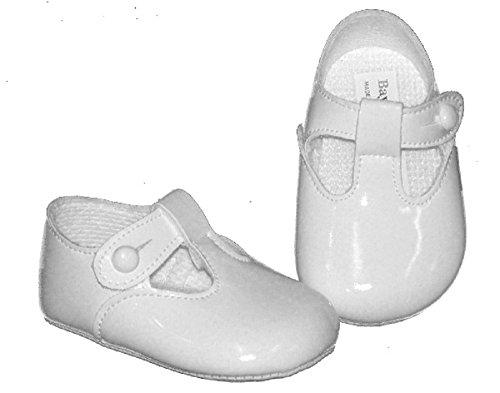 Baypods zapato de bebé suave con suela de agarre. T-bar con cierre de botones. Primer cochecito, disponible en tamaños de recién nacido a 18meses. Varios colores. azul azul celeste Talla:3-6 meses White Patent