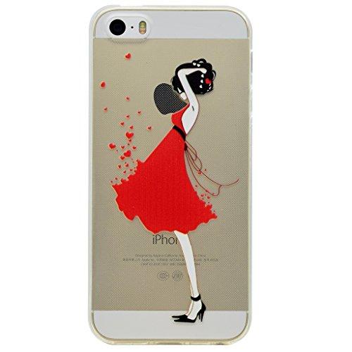 Hülle iPhone SE 5 / 5S, IJIA Ultra Dünnen Roter Rock Sexy Mädchen TPU Weich Silikon Handyhülle Schutzhülle Handyhüllen Schale Cover Case Tasche für Apple iPhone SE 5 / 5S + 24K Gold Aufkleber