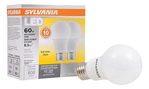 SYLVANIA, 60W Equivalent, LED Light Bulb, A19 Lamp, 2 Pack, Soft White, Energy Saving & Longer Life, Medium Base, Efficient 8.5W, (Sylvania 2700k Led)