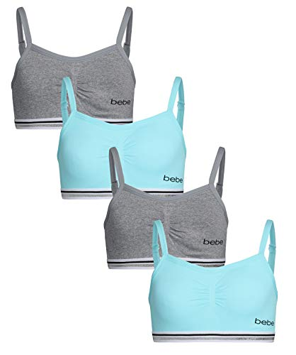 Bra Bebe - bebe Girl\'s Seamless Training Sports Bra with Removable Pads (4 Pack) (Turquise/Heather Grey, Large / 14-16)'
