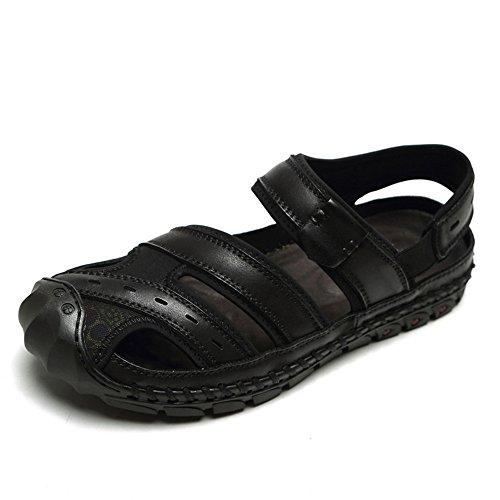 de Hombre Antideslizante Exterior para Ajustables de para Sandalias Black Interior Verano adecuadas Zapatillas de Ocio Pescador de Sandalia Playa Cuero Deportes y de Respirable S4Yw8wx