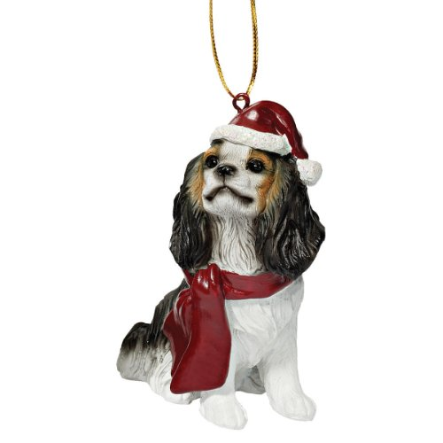 Dog Holiday Ornaments - Design Toscano Christmas Ornaments - Xmas King Charles Cavaliers Holiday Dog Ornaments