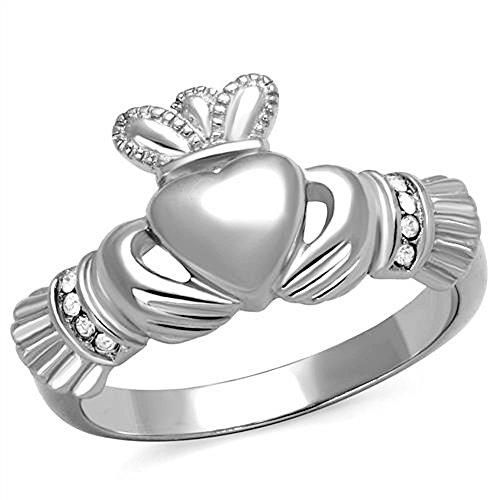 Vip Jewelry Co Women's Stainless Steel Irish Claddagh Cz Promise Friendship Ring Band Size 5-10 (8) (Claddagh Ring Crown)