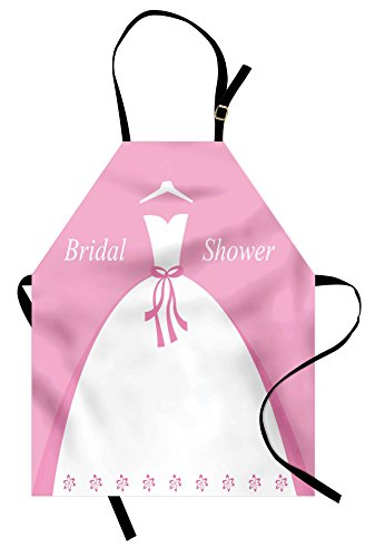 Ambesonne Bridal Shower Apron, Celebration Bride Party Wedding Dress with Shadow Backdrop Image, Unisex Kitchen Bib Apron with Adjustable Neck for Cooking Baking Gardening, Pale Pink and White