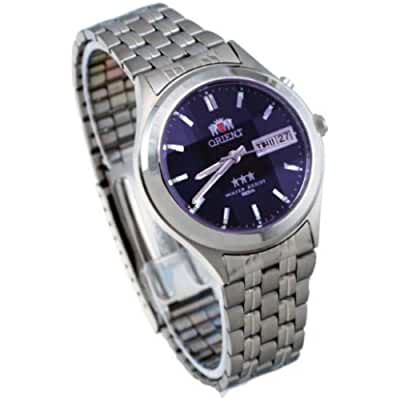 Orient #BEM5V002D Men's Facet Glass Stainless Steel Automatic Watch