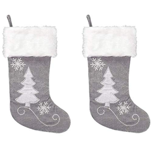 New Traditions 2-pack 20 inch Christmas Stockings (Gray)