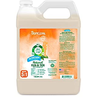 TropiClean Natural Flea & Tick Soothing Shampoo for Dogs, 1 gal - Made in USA