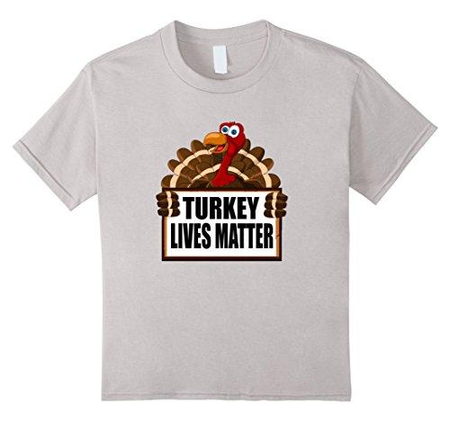 unisex-child Thanksgiving Turkey Lives Matter Vegan T-Shirt 8 Silver