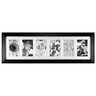 Malden International Designs Berkeley Matted Black Wood 6-Opening 4 x 6  Collage Picture Frame