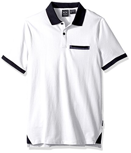 A|X Armani Exchange Men's Short Sleeve Polo Shirt With Back Logo, White, M