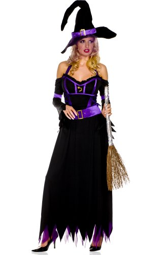 3 PC. Long Halter Dress - X-Large - Black/Purple
