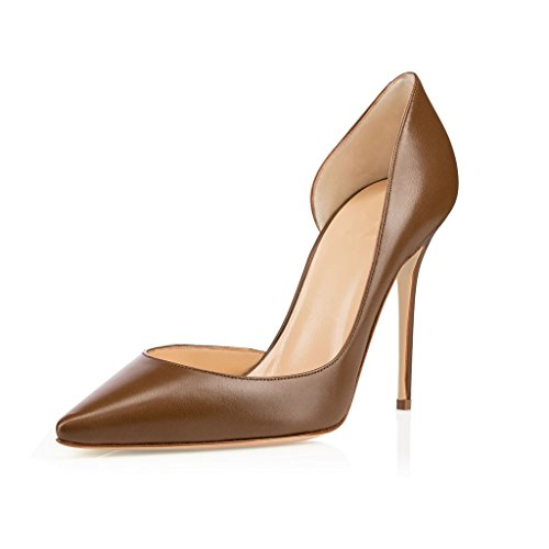 EDEFS Womens Pointed Toe d'Orsay Court Shoes Slip-on Cut-outs Pumps Ladies Evening Shoes Brown