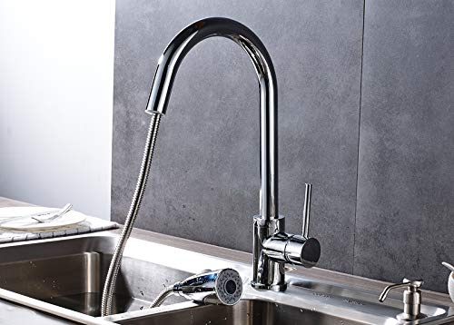 FZHLR Chrome Polished Solid Brass Pull Down Kitchen Sink Faucet Single Handle Countertop Mixer Tap 360 Degree Swivel Pull Out The Spray Head,A