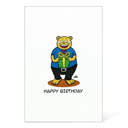 Price comparison product image Birthday Card with Silver Bar, Bear with Gift, Envelope Included