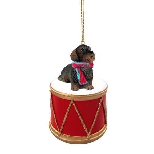 Little Drummer Wire Haired Dachshund Christmas Ornament - Hand Painted - Delightful by Animal Den