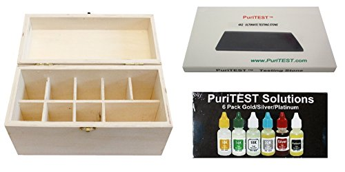Jewelry Testing Kit 10k 14k 18k 22k Gold, Platinum, Silver, Wood Storage Box and 4x2 Testing Stone