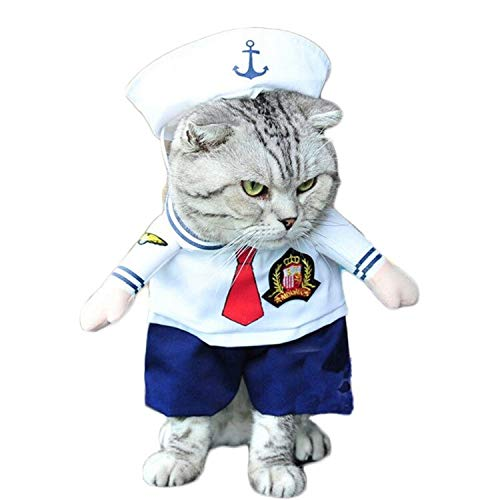 D-ModernPet Dog Costume - Cat/Dog Costume Suit Sailor Cosplay Clothes for Small Medium Cats Dogs Puppy Party Halloween Costume for a cat Present for Pets ()