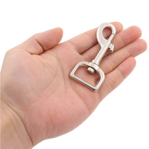 BIKICOCO Swivel Bolt Snap, 3.15\'\' x 1.38\'\' Trigger Hook Clips Lobster Claw Clasp, 1\'\' D-Ring Ended, for Pet Leash, Key Chains, Tags and Lanyards, Silver - Pack of 8