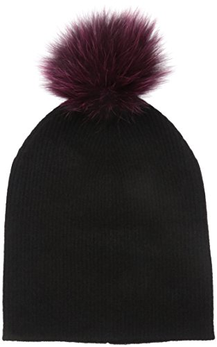 Sofia Cashmere Women's 100% Cashmere Slouchy Beanie with Dyed Fox Fur Pom, Black, One Size by Sofia Cashmere