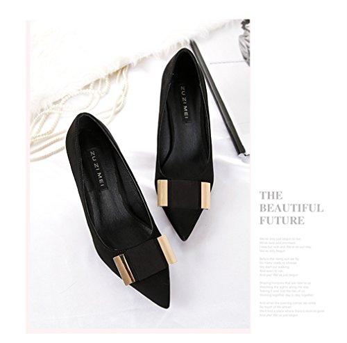 Bow Escarpins Noir Buckle Talons Metal De Women's Tie Cour Suede Xianshu Pointes Chaussures 8xwtFqn