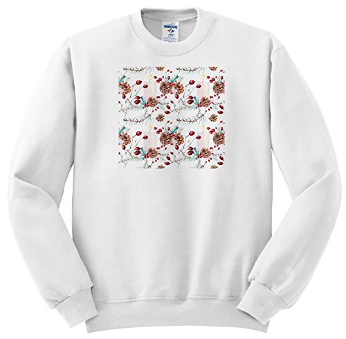 Anne Marie Baugh - Christmas - Pretty Christmas Pinecones, Berries, and Candles Pattern - Sweatshirts - Youth Sweatshirt Small(6-8) (SS_266666_10) (Berry Small Candle)
