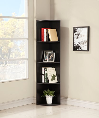 Cappuccino Finish Wood Wall 5-Tier Corner Bookshelf Bookcase
