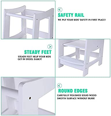 Egree Toddlers Kitchen Step Stool With Safety Rail Kids Wooden Learning Tower For Kitchen Counter And Bathroom Sink 3 Heights Adjustable Step Up Stool Mothers Helper Solid Wood Construction White Amazon Sg Home