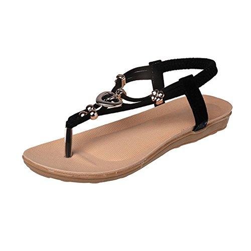 Zalezing Comfortable Women's shoes Sandals Glitter Party Strappy Flip Flops Romans Girls Sandals ( Black 5 B (M) US ) (Party Store Burlington Vt)