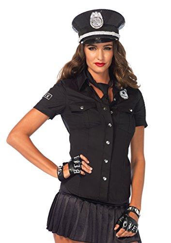 Leg Avenue Women's 2 Piece Police Shirt and Tie Costume, Black, (Womens Police Shirt Adult Costumes)