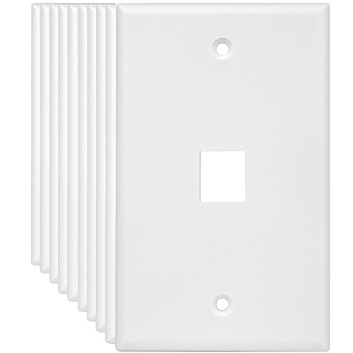 (ENERLITES 8871-W (10 Pack) 1 Port Keystone Jack Wall Plate, Keystone Wall Plate, Data Wall Plate, Voice/Audio Wall Plate, Compatible with any standard-size Keystone Insert such as Cat6, RJ45, RJ11)