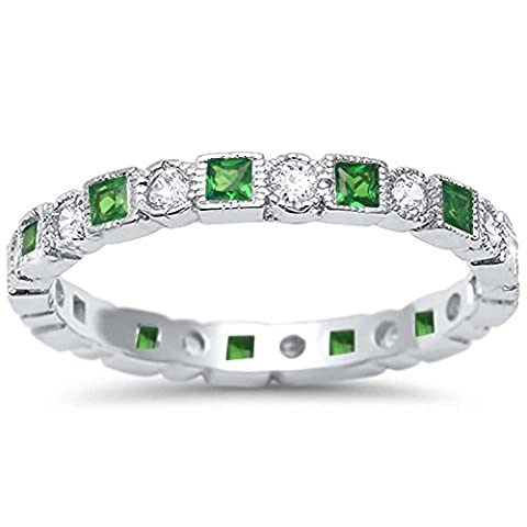 Antique Style Simulated Emerald & CZ Stackable Eternity Band .925 Sterling Silver Ring Sizes 10 (Antique Ring Band)