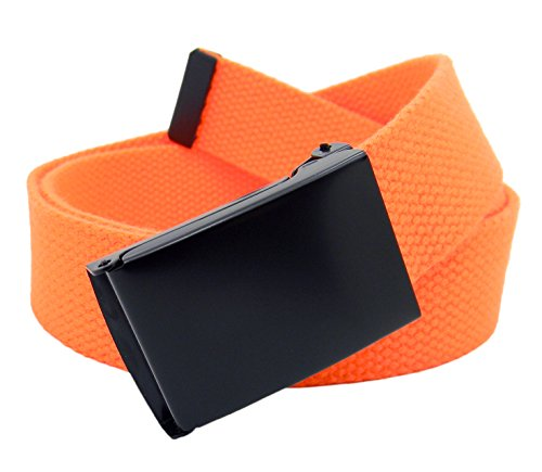 Orange Web - Men's Black Flip Top Military Belt Buckle with Canvas Web Belt Medium Neon Orange