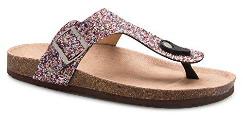 Glitter Sandals (OLIVIA K Women's Casual Buckle T Strap Thong Strap Sandals Flip Flop Platform Footbed)