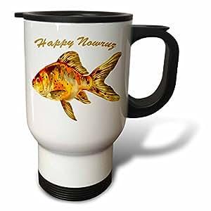 3dRose Taiche - Greeting Card - Happy Nowruz - Elegant Happy Nowruz Goldfish Persian New Year - 14oz Stainless Steel Travel Mug (tm_275642_1)