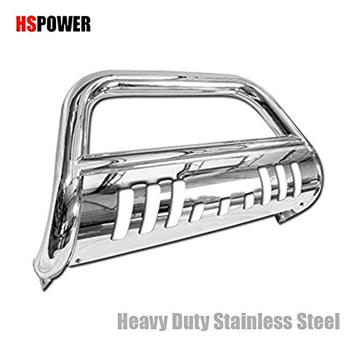 (HS Power Chrome Bull Bar Brush Push Bumper Grill Grille for 2014+ Chevy Silverado/Sierra 1500)