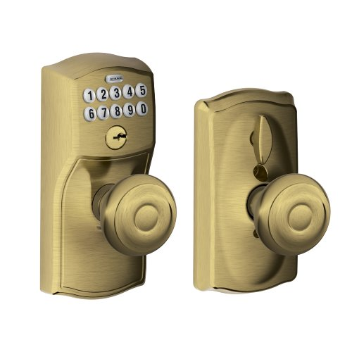 Schlage FE595 CAM 609 GEO Camelot Keypad Entry with Flex-Lock and Georgian Style Knobs, Antique Brass (Automatic Locking Door Knob compare prices)